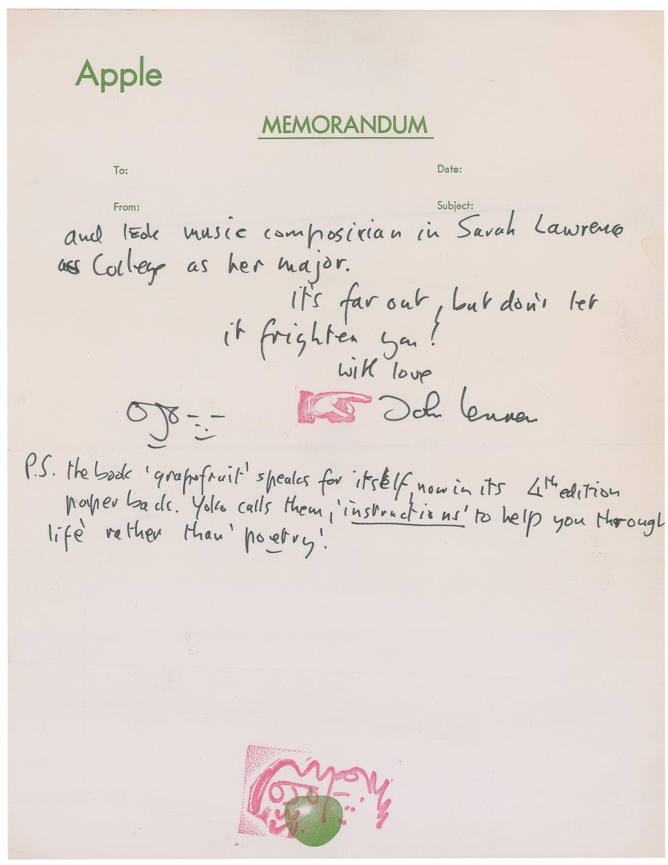 John Lennon Letter Praising Yoko Ono Fetches $28,000 (1)
