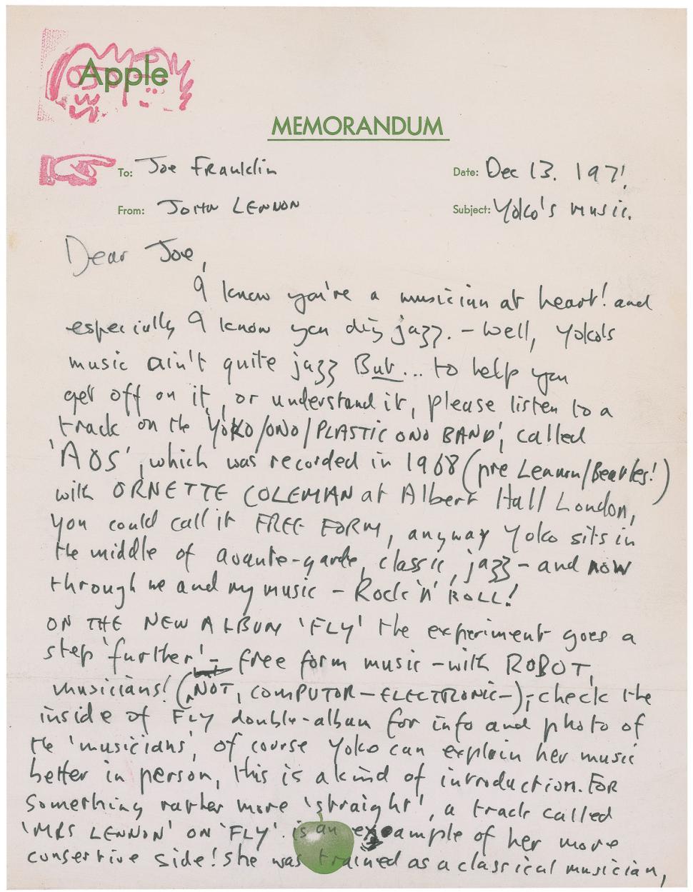 John Lennon Letter Praising Yoko Ono Fetches $28,000 (4)