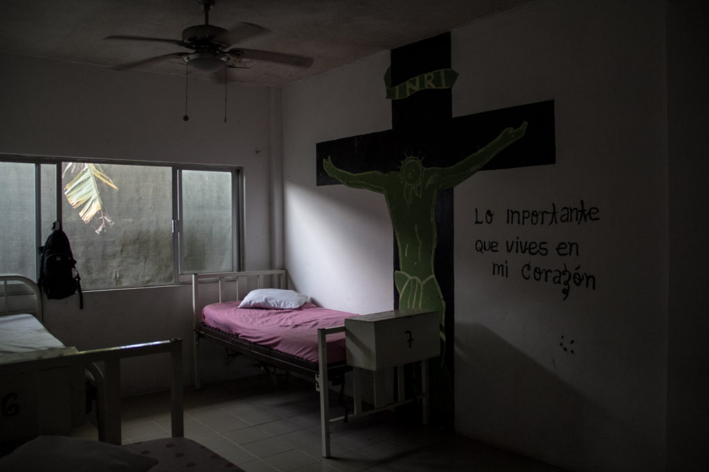 """one of the bedrooms of the Shelter for migrants """"Jesus the good shepherd"""" in Tapachula, Tabasco"""