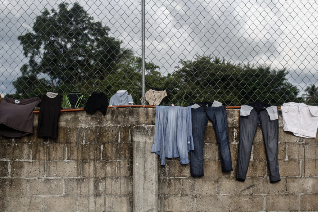 The clothes of immigrants drying; For many, this is basically all their belongs.