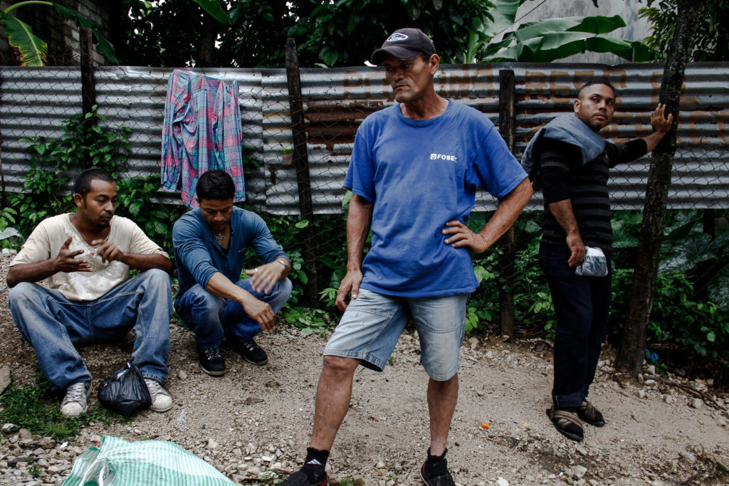 Immigrants having a rest in Pakal-na district in Palenque.